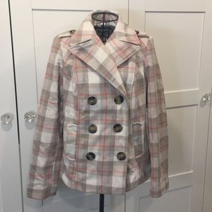 Cream/Tan/Orange Plaid Peacoat
